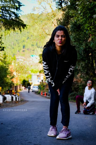 A girl in Black Calvin Klein Sweatshirt in Himachal