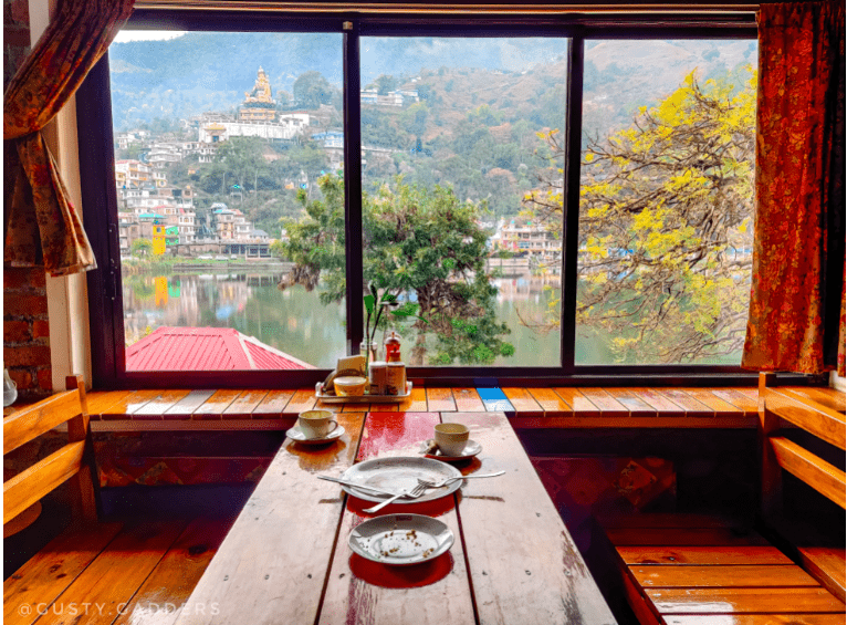Emaho cafe shows incredible view of quaint town Rewalsar.