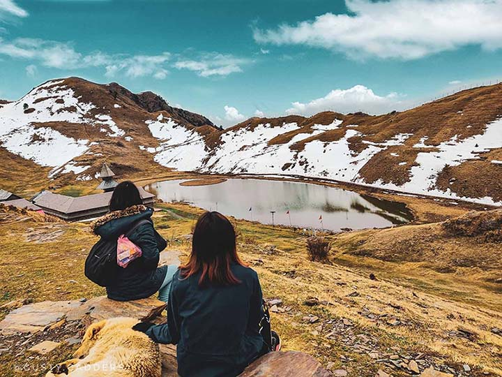 Prashar Lake, us and that friendly mountain dog.