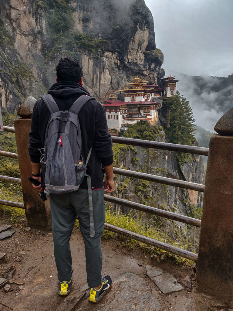 A Guy Gazing at Tiger Hill Monastery in Bhutan
